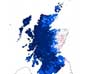 Image of Scotland map showing temperature changes